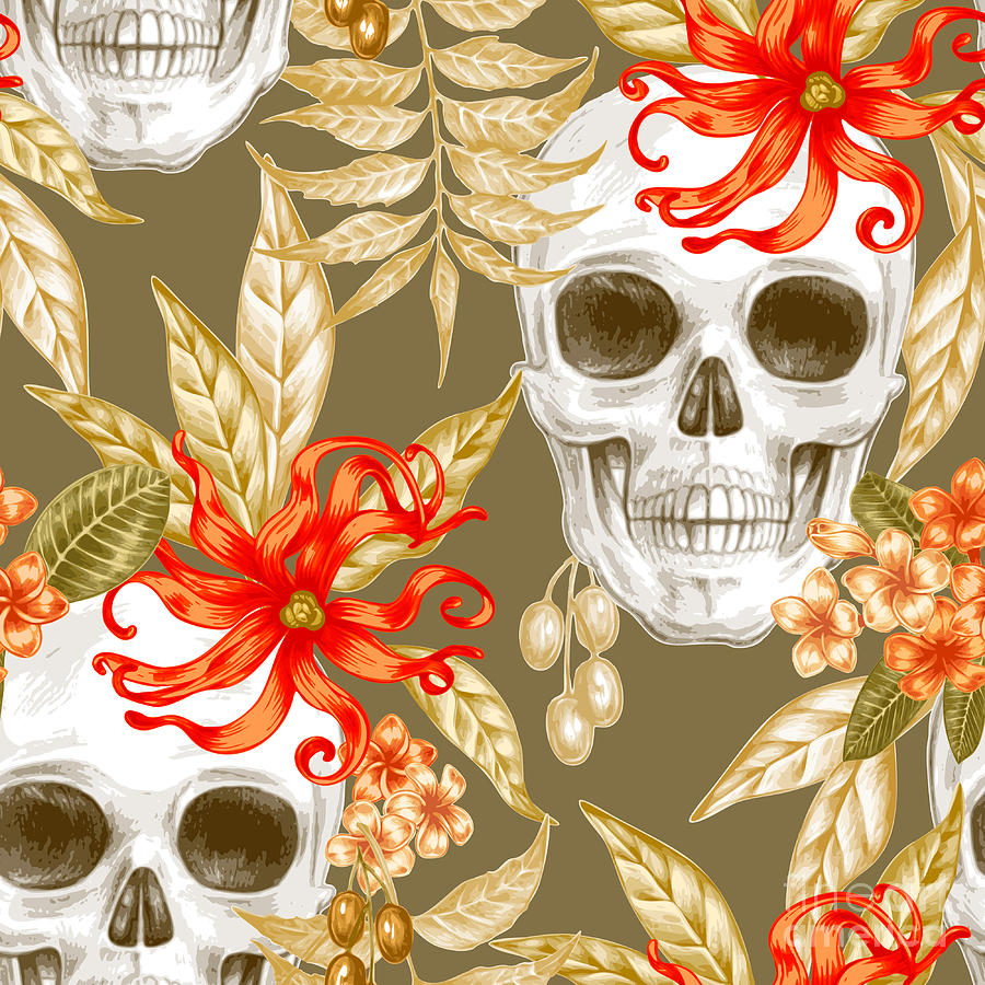 Symbol Digital Art - Vector Seamless Background. Exotic by Mamita