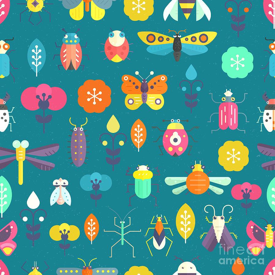 Locust Digital Art - Vector Seamless Geometric Pattern With by Olga Zakharova