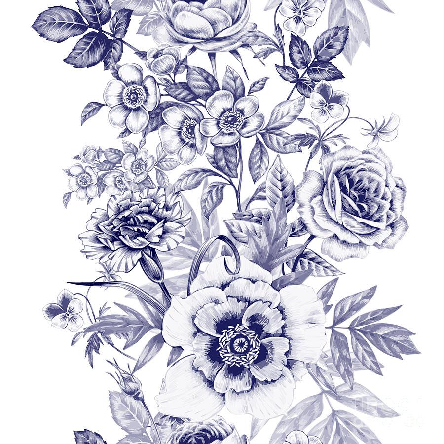 Beauty Digital Art - Vector Seamless Pattern. Rose, Peony by Mamita