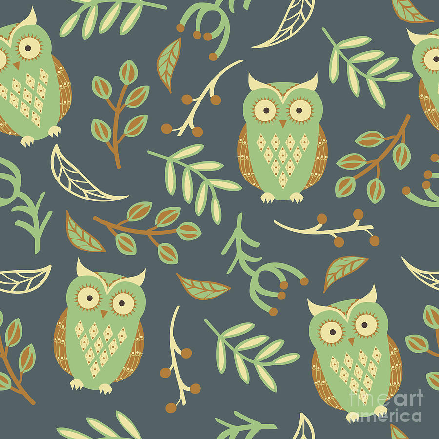 Forest Digital Art - Vector Seamless Pattern With Cute Owls by Eireen Z