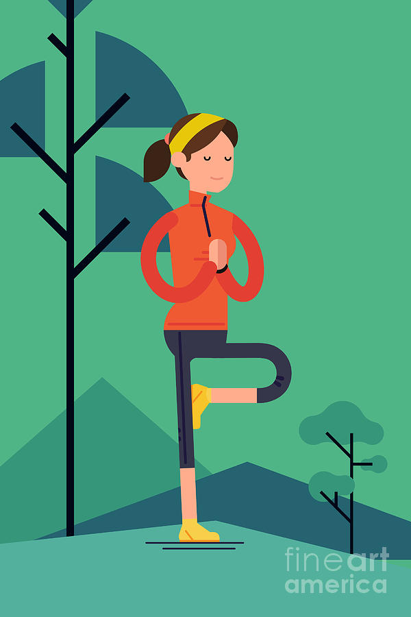 Mountains Digital Art - Vector Sport Young Woman Character by Mascha Tace