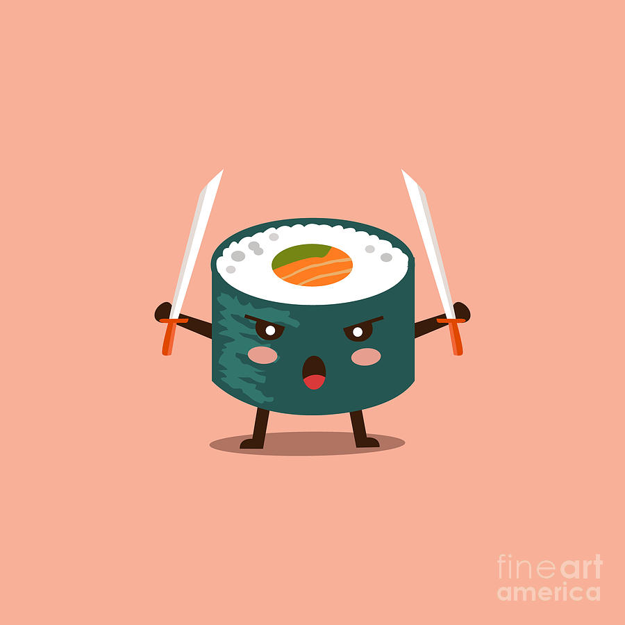 Symbol Digital Art - Vector Sushi Cartoon Character by Apple Art
