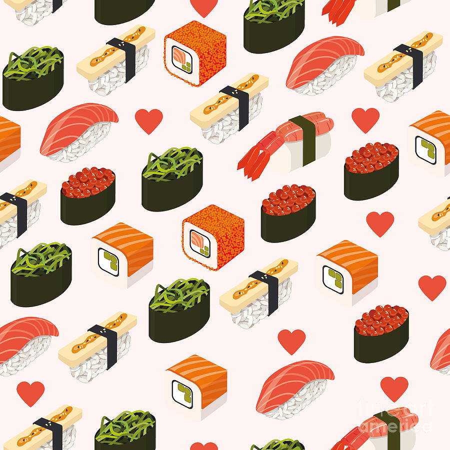 Template Digital Art - Vector Sushi Menu Template With by Svetlana Maslova