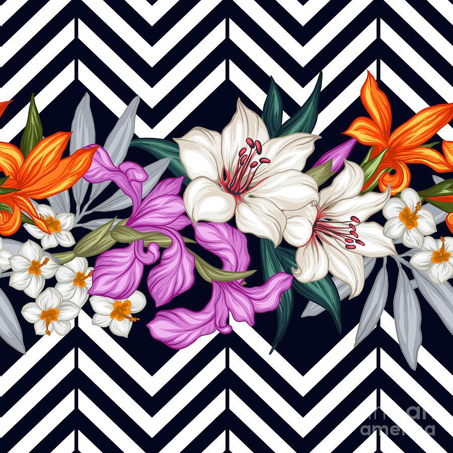 Palm Digital Art - Vector Tropical Leaves And Flowers by Juliyam