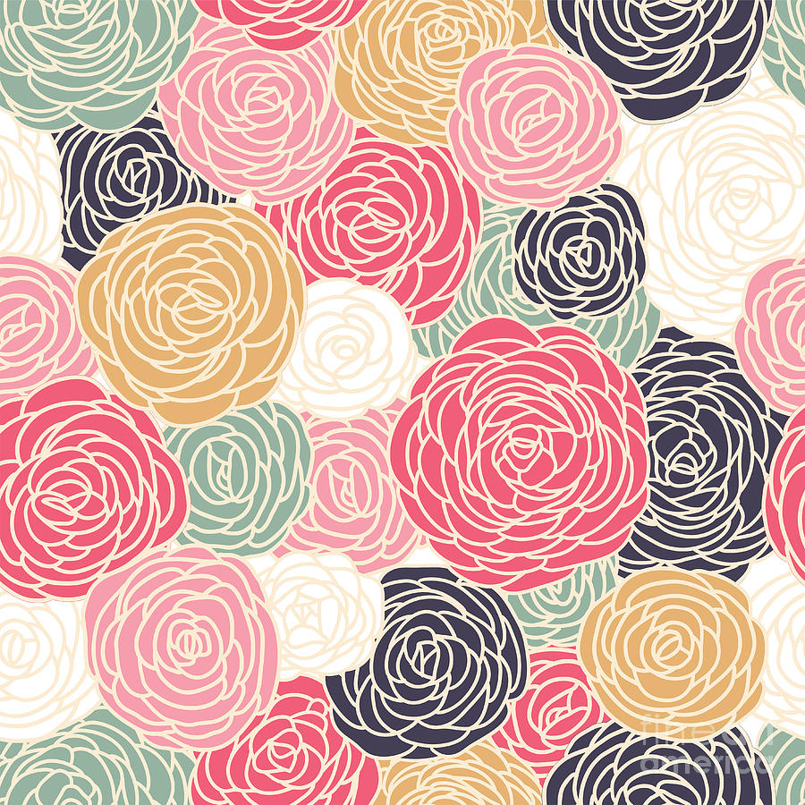 Beauty Digital Art - Vector Vintage Inspired Seamless Floral by Fleur Paper Co
