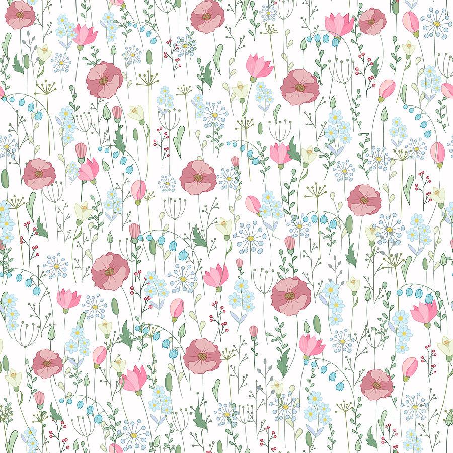 Flora Digital Art - Vector Vintage Seamless Floral Pattern by Andriy Lipkan