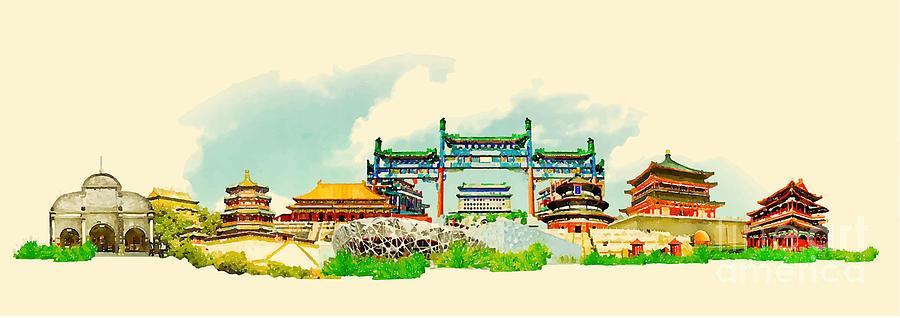 Capital Digital Art - Vector Watercolor Beijing City by Trentemoller