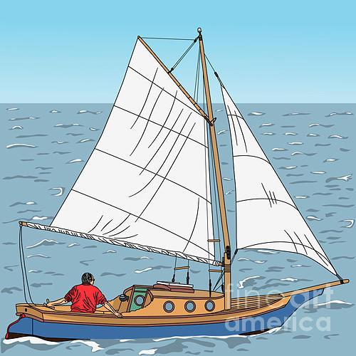Sailboat Digital Art - Vector Wooden Yacht With A Captain On by Kavalenkau