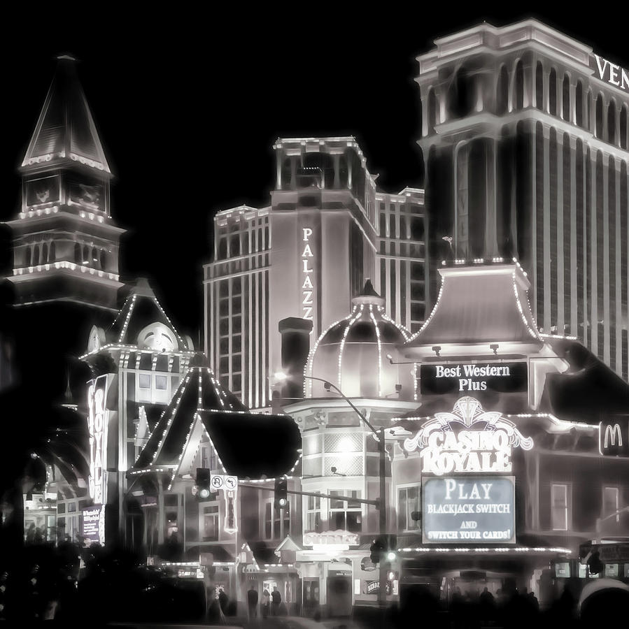 Vegas Lights black and white by Lutz Baar