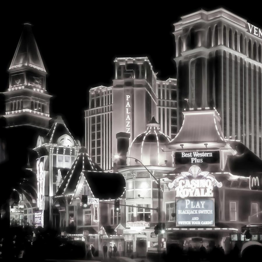 Vegas Lights Photograph - Vegas Lights Black And White by Lutz Baar