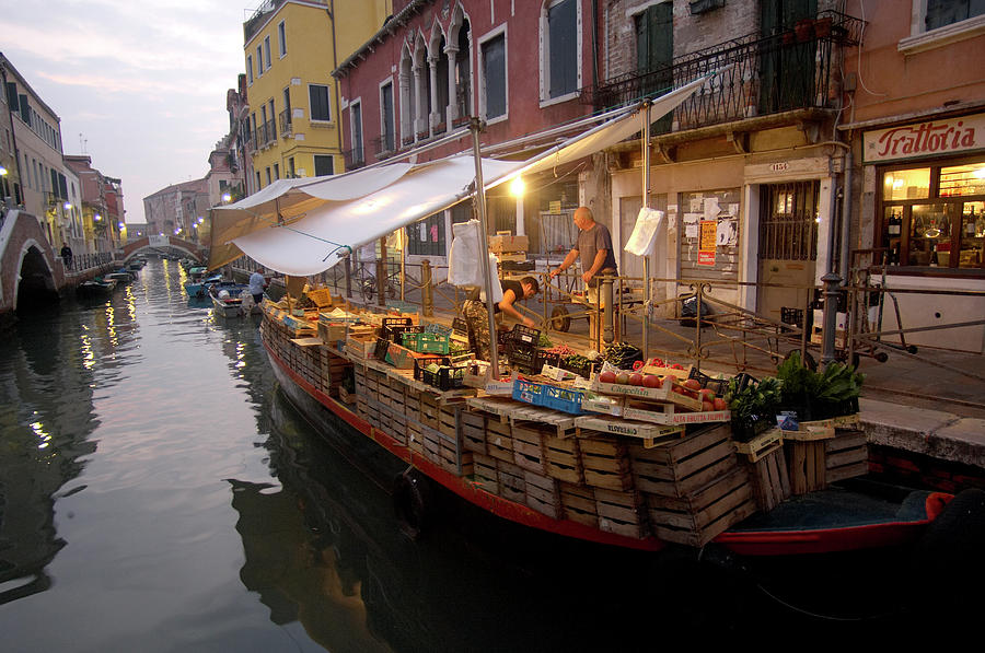 Vegetable Boat In Venice Photograph by Andrea Pistolesi