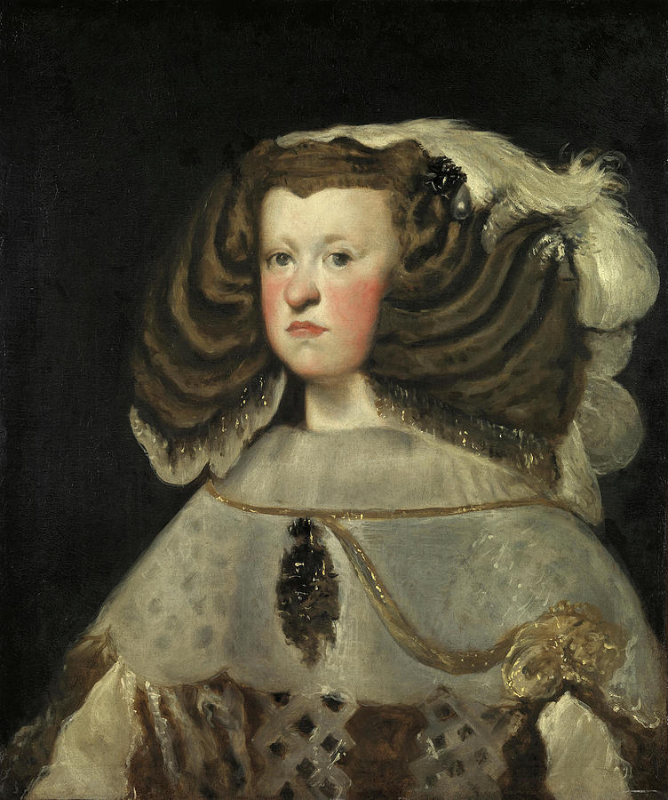 Oil Painting - Velazquez -seville, 1599 - Madrid, 1660-. Portrait Of Mariana Of Austria, Queen Of Spain -1655 - ... by Diego Velazquez -1599-1660-