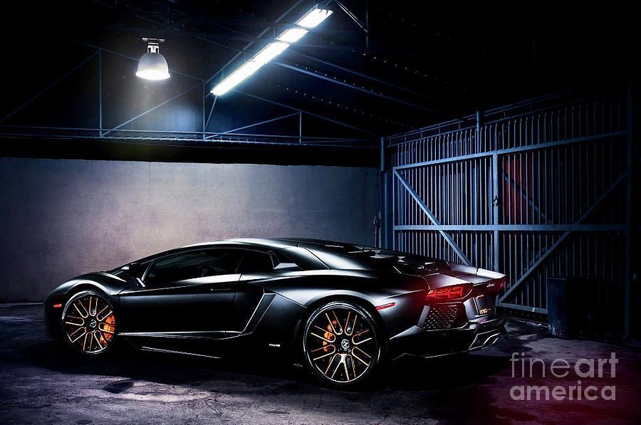 Vellano Matte Black Lamborghini Aventador Photograph By