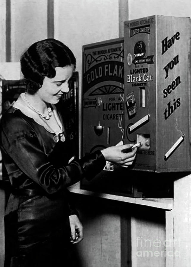 Vending Machine Dispensing Lit Cigarettes for a Penny - 1931 by Doc Braham