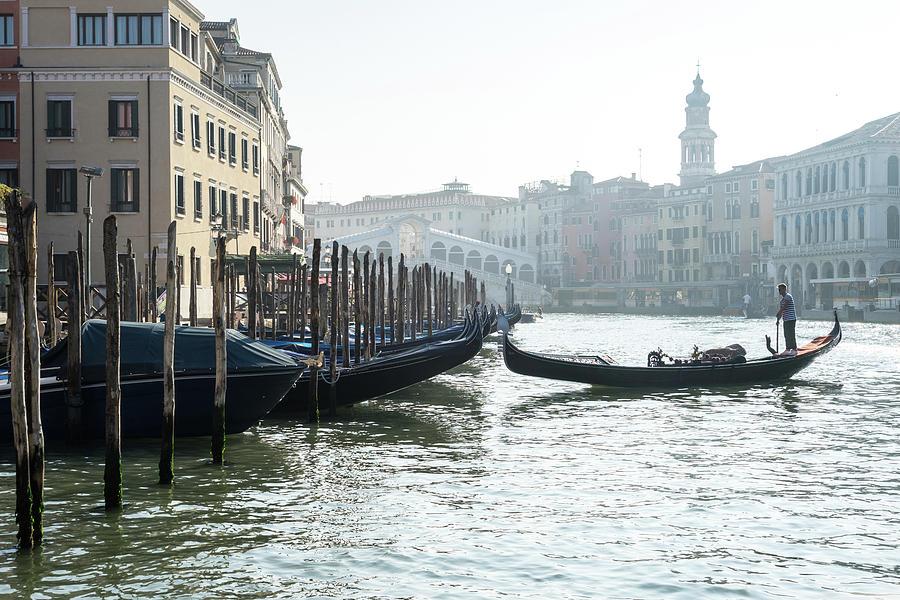 Venetian Gondolier in the Soft Morning Mist - Quintessential Grand Canal Venice Italy by Georgia Mizuleva
