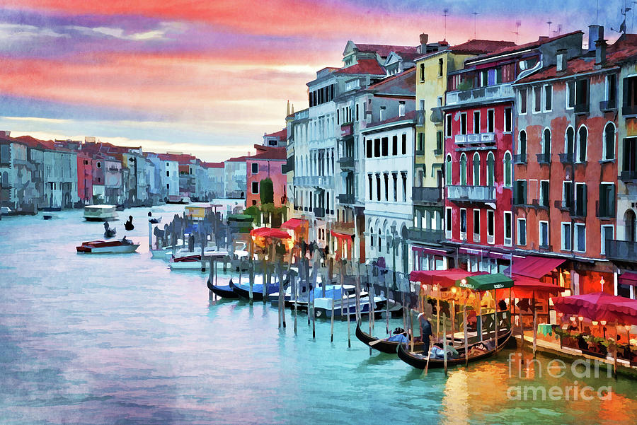 Venice Painting - Venetian Sunset by Delphimages Photo Creations