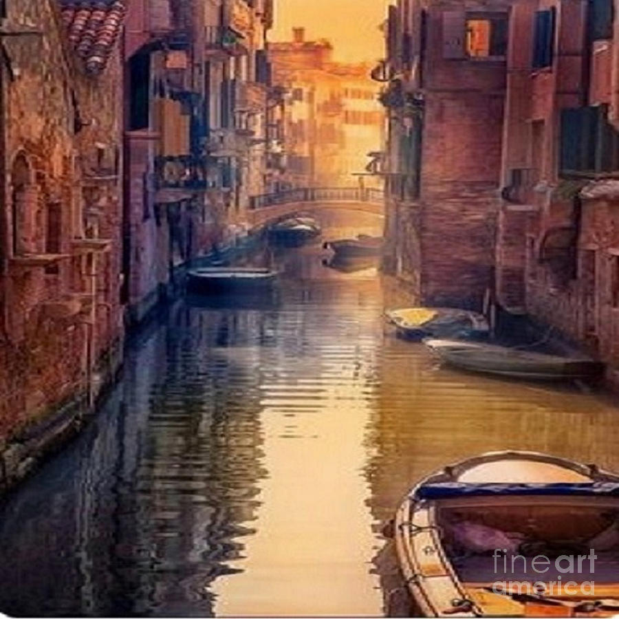 Venice Canal Italy by Rod Jellison