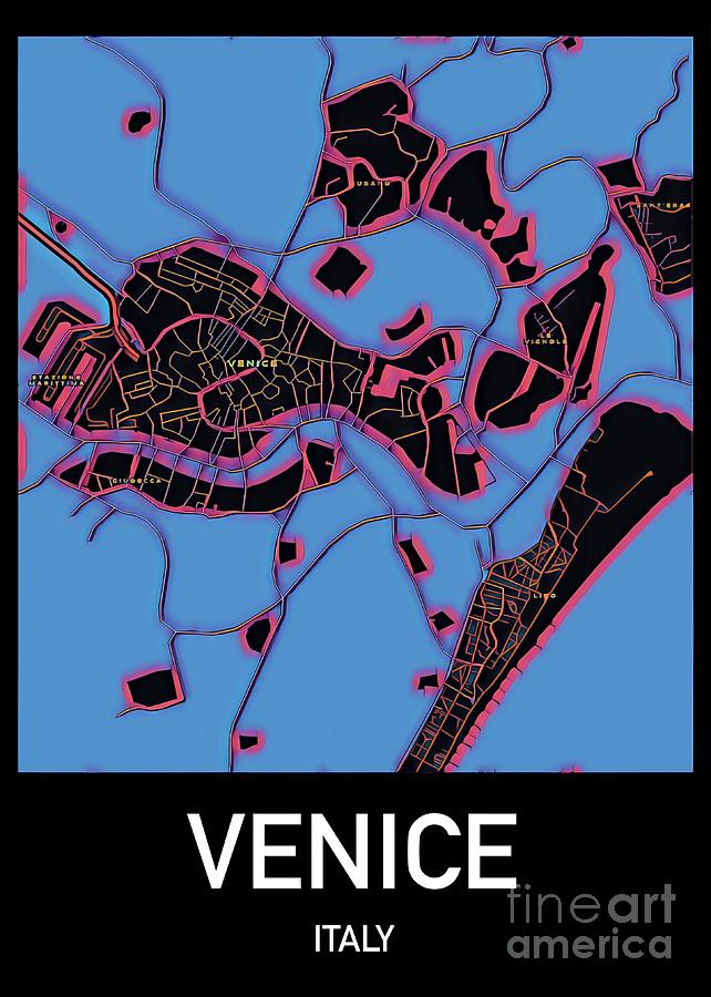 Venice Mixed Media - Venice City Map by Helge