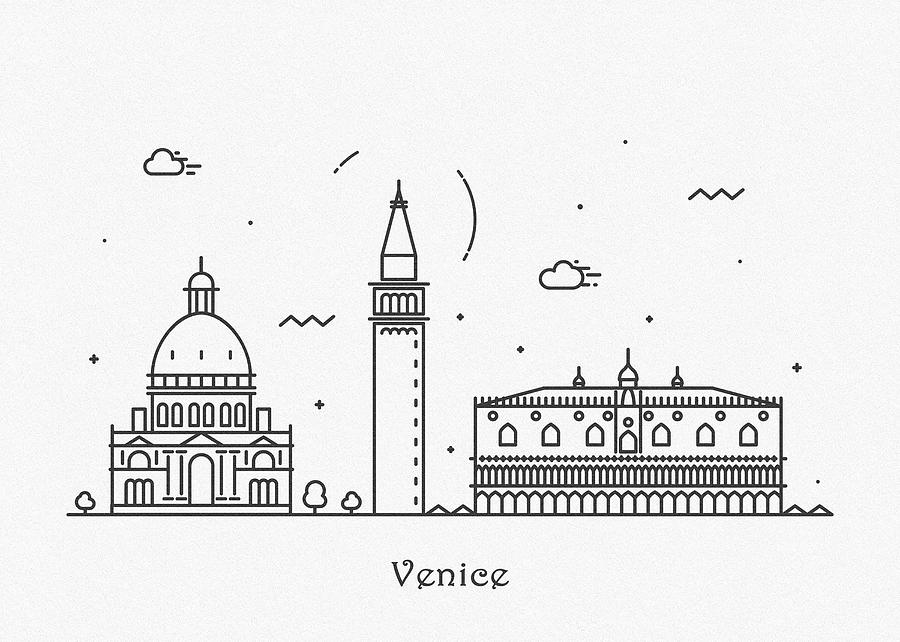 Venice Cityscape Travel Poster by Inspirowl Design