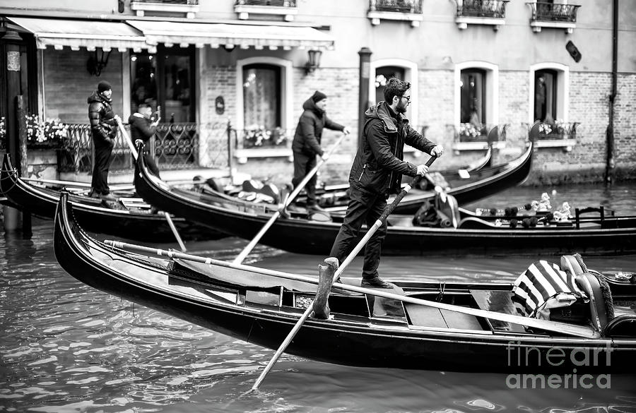 Venice Gondolas in Synch by John Rizzuto