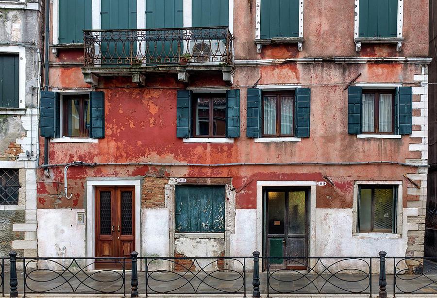 Venice Photograph - Venice Houses Along The Canal by Georgia Fowler