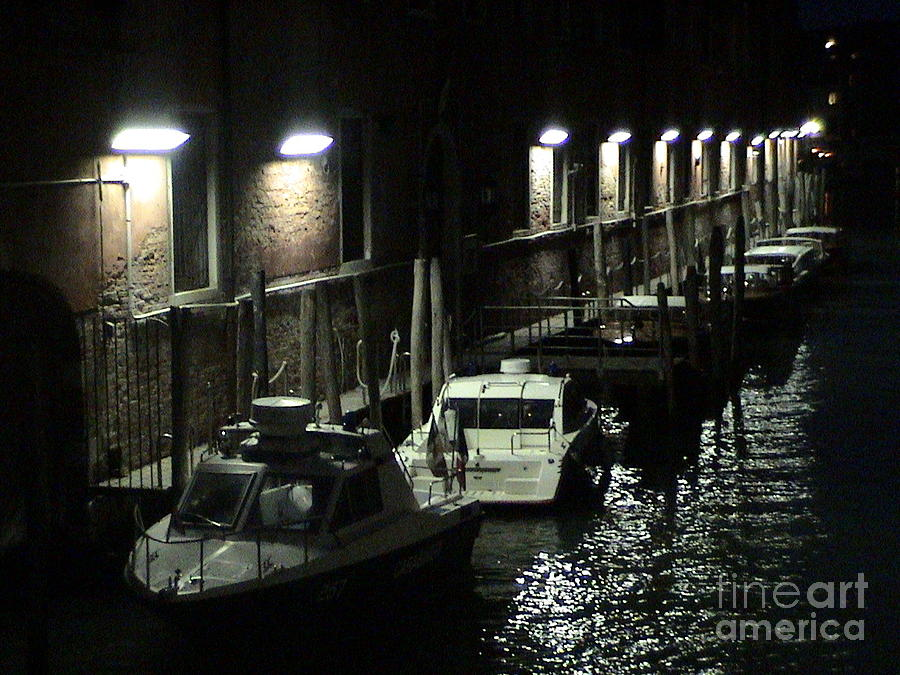 Venice Italy Canal Waterway at Night Parked Boats Light Posts Reflection Romantic Panoramic View by John Shiron