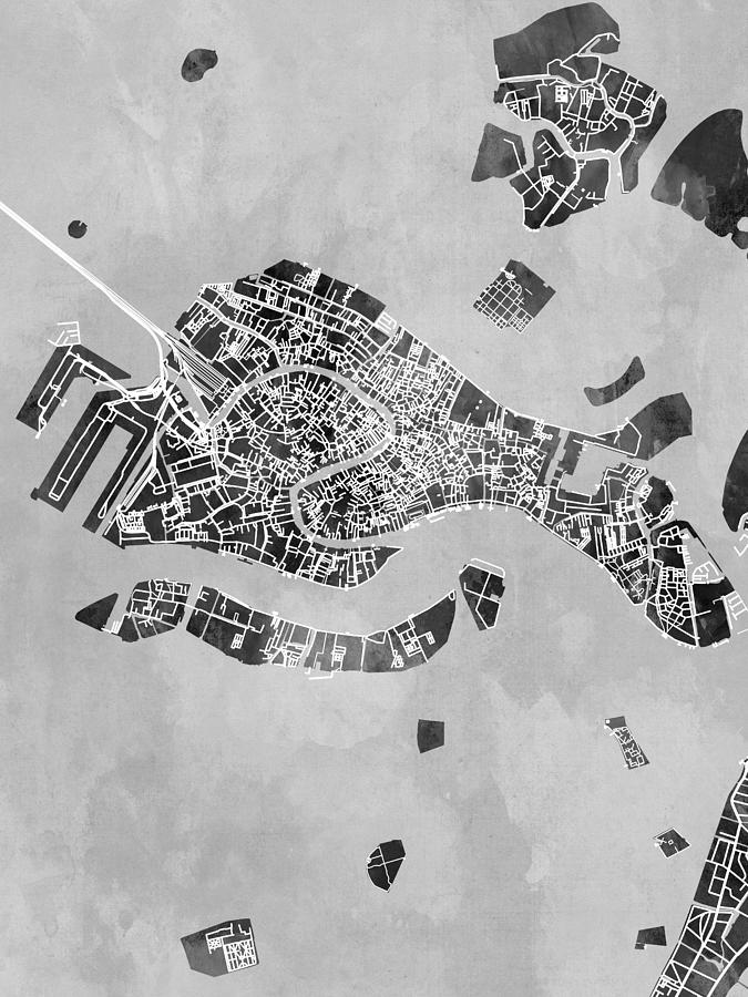 Venice Digital Art - Venice Italy City Map by Michael Tompsett
