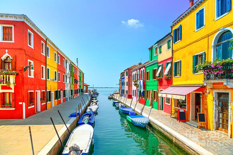 Panoramic Photograph - Venice Landmark Burano Island Canal by Stevanzz