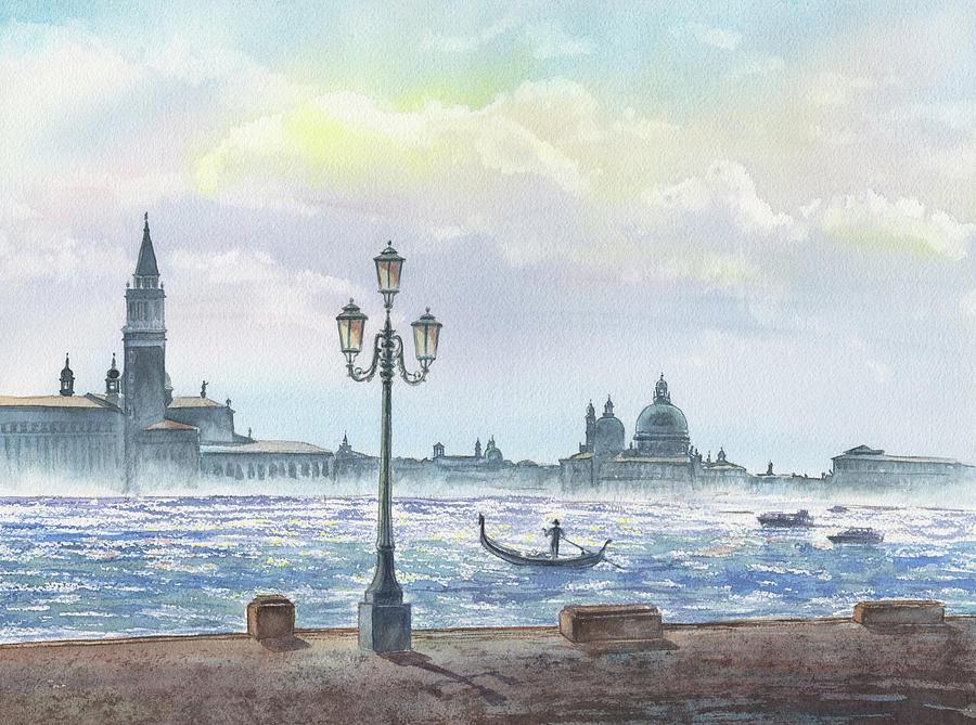 Venice Morning San Giorgio Maggiore And Santa Maria Della Salute Watercolor by Irina Sztukowski