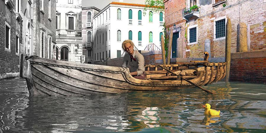 Venice Digital Art - Venice Pause In The Evening by Betsy Knapp