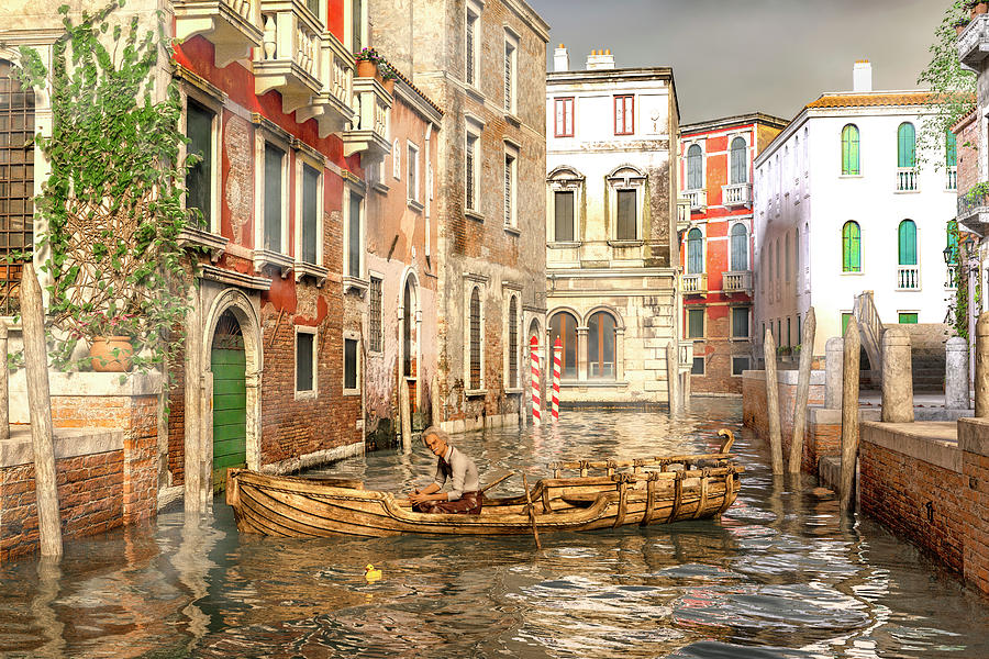 Venice The Little Yellow Duck Digital Art