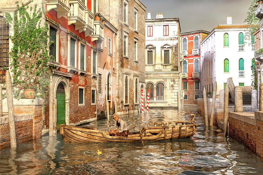 Venice Digital Art - Venice The Little Yellow Duck by Betsy Knapp