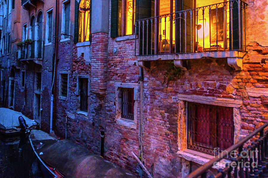 Venice windows at night by Marina Usmanskaya