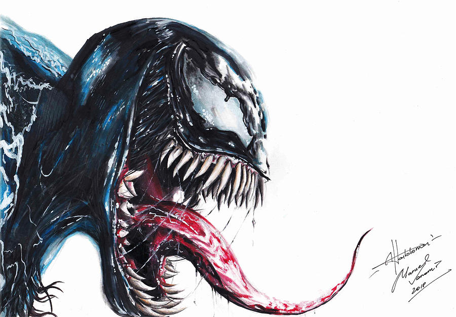 Venom Drawing By Alex Hortolomei