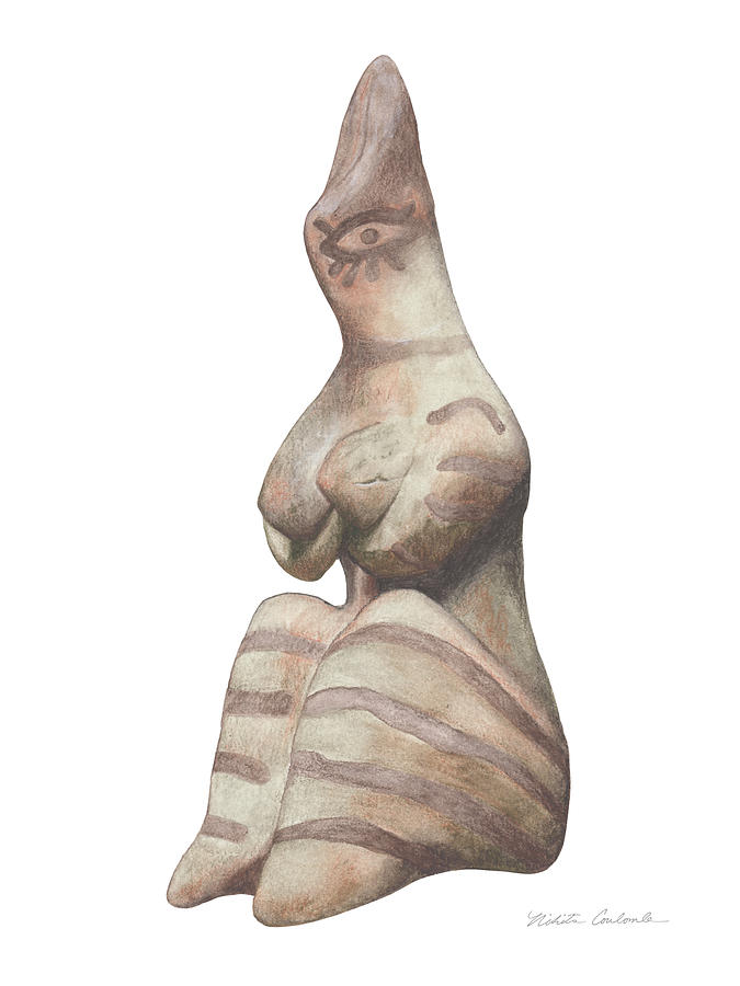 Venus Drawing - Venus Of Tel Haraf by Nikita Coulombe