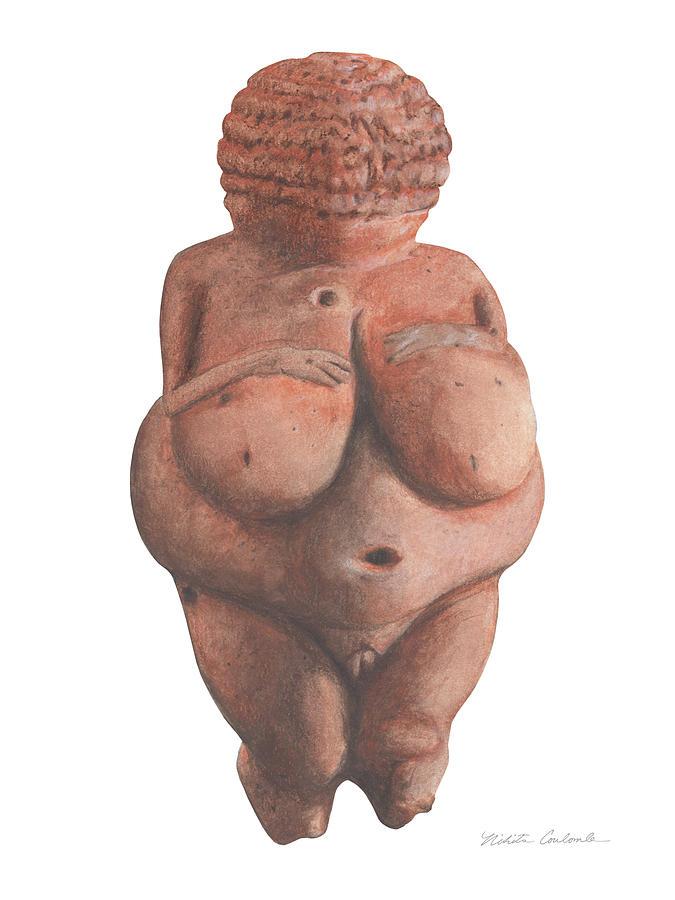 Venus Drawing - Venus Of Willendorf by Nikita Coulombe