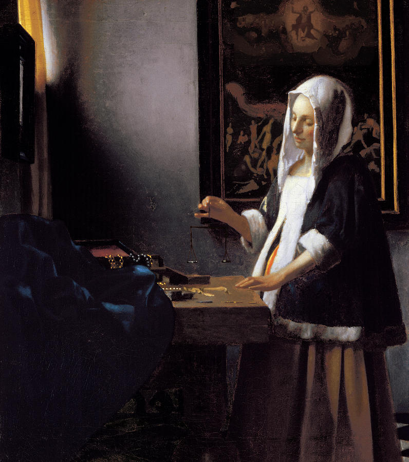 Vermeer Painting - Vermeer-woman Holding A Balance by Portfolio Arts Group