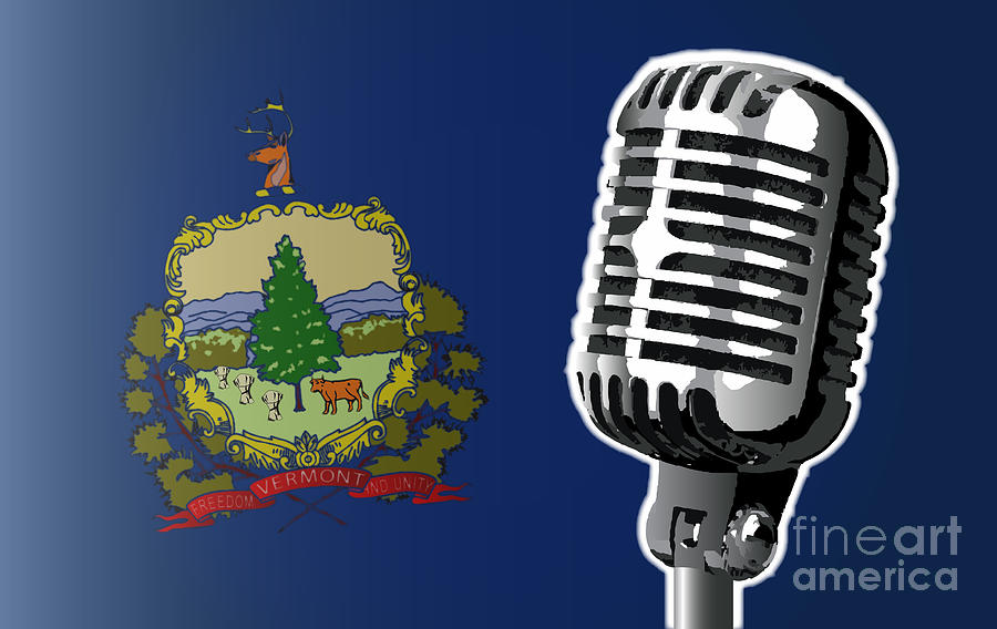 Vermont Digital Art - Vermont Flag And Microphone by Bigalbaloo Stock