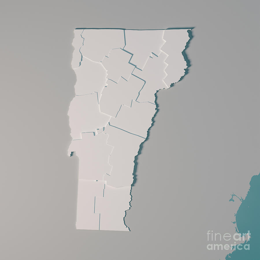 Vermont Us State Map Administrative Divisions Counties 3d Render by Frank  Ramspott