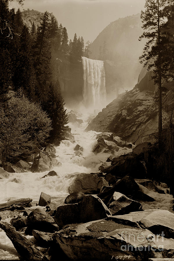 Vernal Fall 317 feet  Yosemite Valley Circa 1921 by California Views Archives Mr Pat Hathaway Archives
