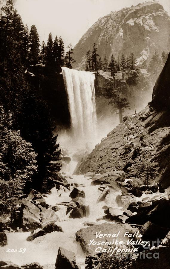 Vernal Falls, Yosemite Valley, California  Circa 1930 by California Views Archives Mr Pat Hathaway Archives