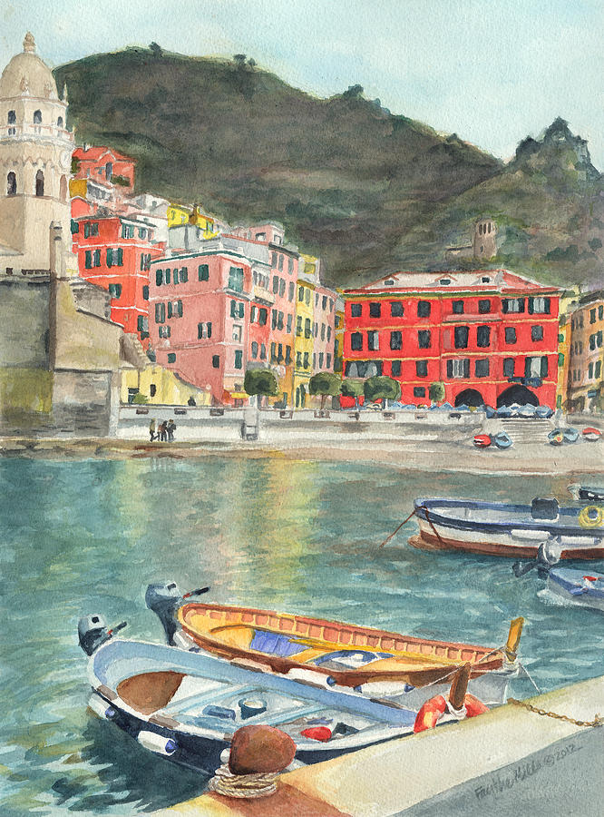 Vernazza Painting - Vernazza by Faythe Mills