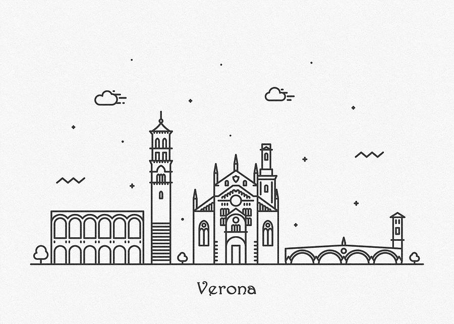 Verona Cityscape Travel Poster by Inspirowl Design