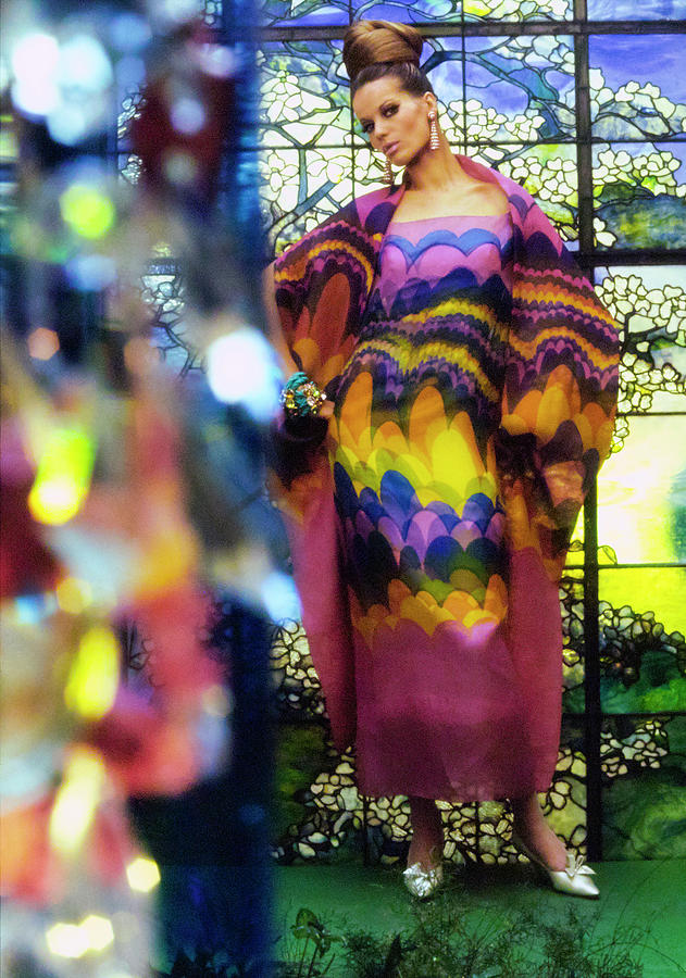 Veruschka In Rainbow Print Gown Photograph by Gordon Parks