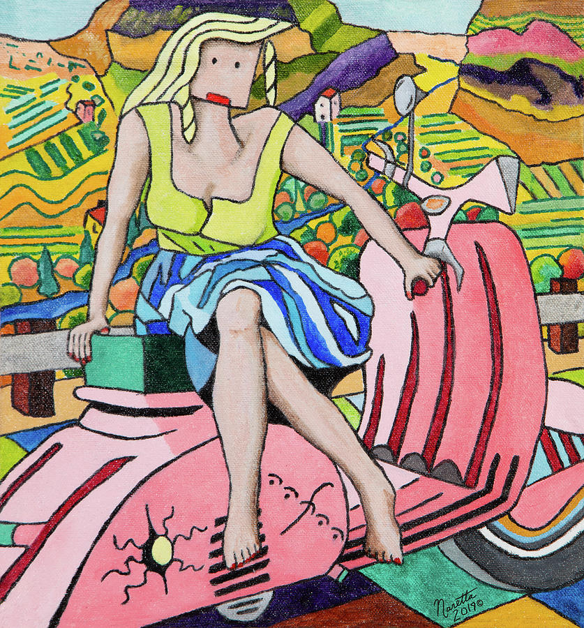 Blonde Painting - Not A Simple Woman - Vespa by John Naretta
