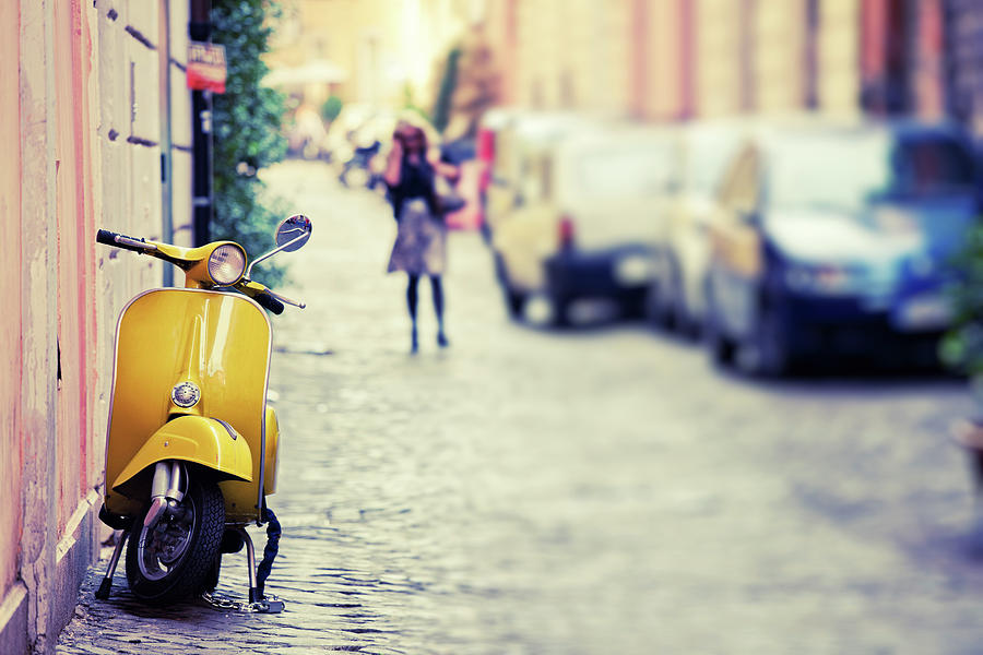 Vespa Scooter In Rome, Italy Photograph by Zodebala