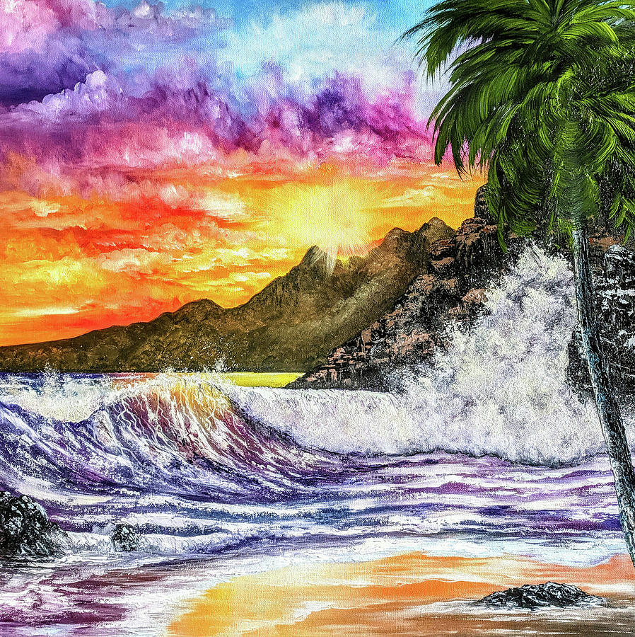 Seascape Painting - Vibrant Crashers by Teri Lindley
