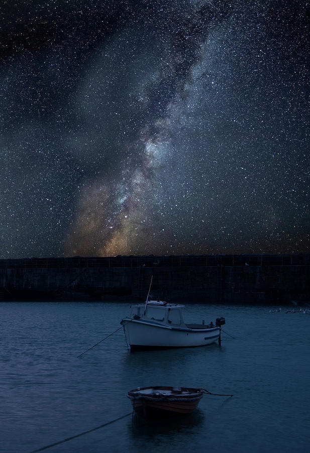 Landscape Photograph - Vibrant Milky Way Composite Image Over Landscape Of Fishing Boat by Matthew Gibson