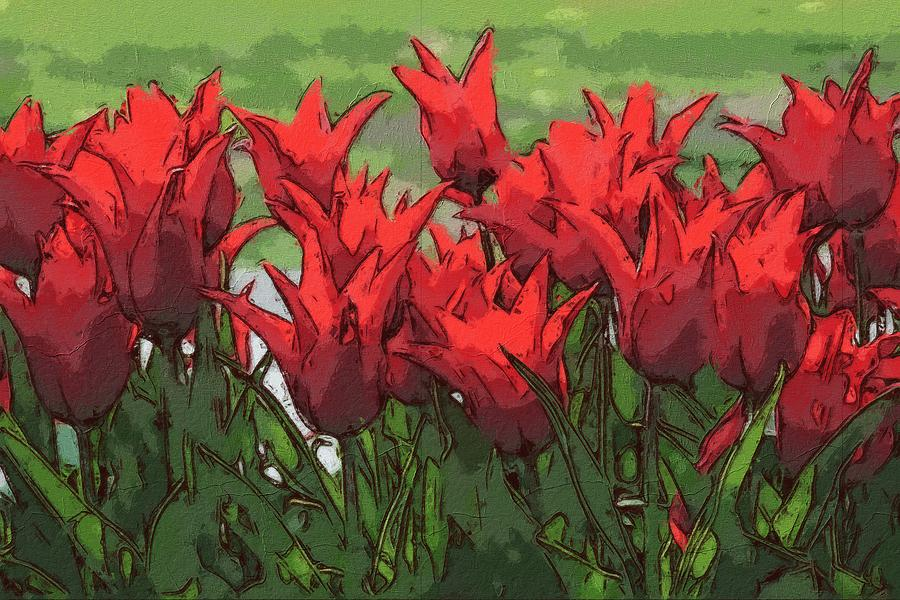 Vibrant Red Tulips  by Joy of Life Arts