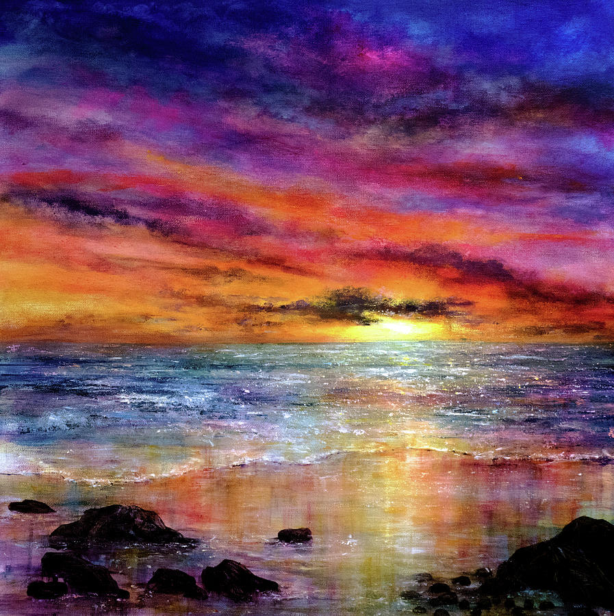 Hand Painted Painting - Vibrant Sea by Ann Marie Bone